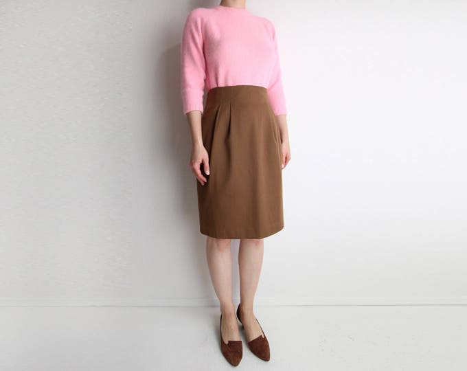 Vintage Pencil Skirt Womens Medium High Waist 1980s Brown Knee Length