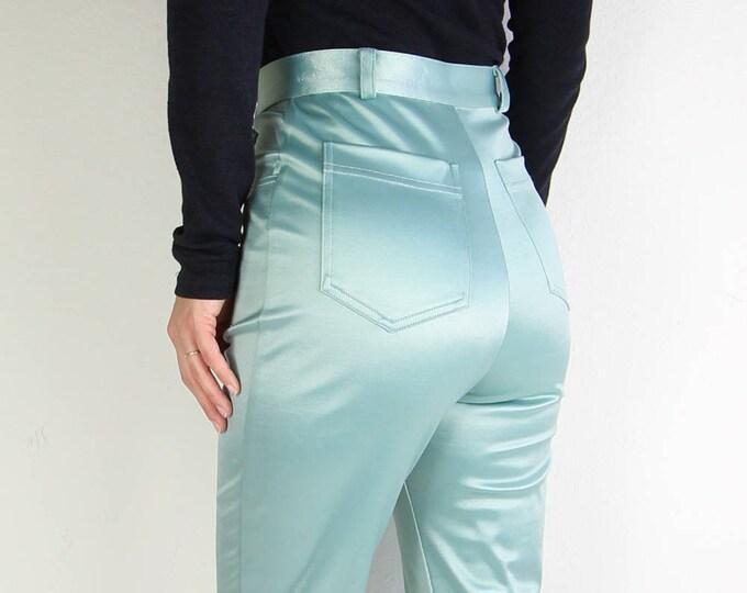 Vintage Pants Womens Mint Green Satin Disco Pants Small
