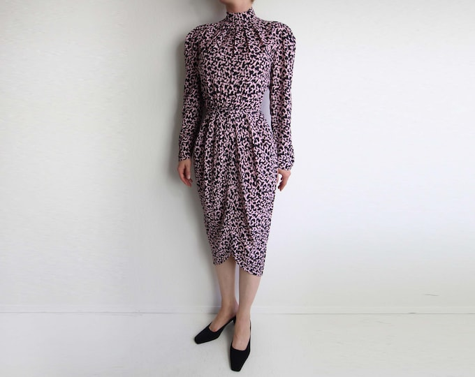 Vintage Dress Pink Black Dress 1980s Print Longsleeve Womens Extra Small
