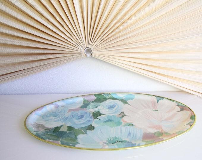 Vintage Floral Decorative Tray Mid Century Home Decor