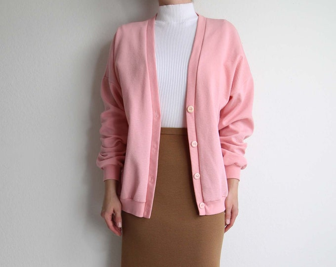 Vintage Pink Cardigan Womens 1980s Light Medium