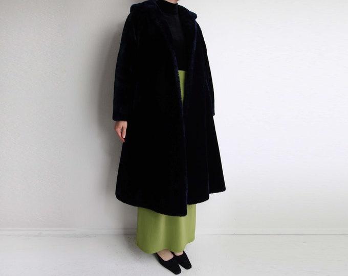Vintage Plush Coat 1970s Midnight Blue Faux Fur Womens Medium