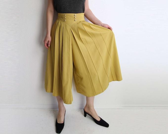 Vintage Wide Leg Pants High Waist Pleated Mustard Gold Womens Medium