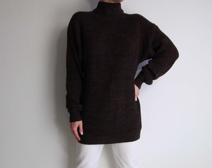 S A L E Vintage Womens Sweater Small 1990s Mock Neck Brown Black Static Knit Long
