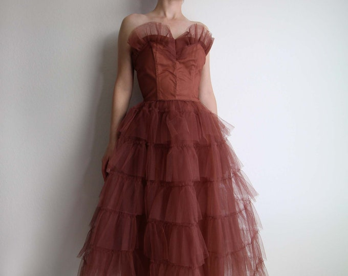 Vintage 1950s Dress Formal Gown Sweetheart Tulle Womens XS