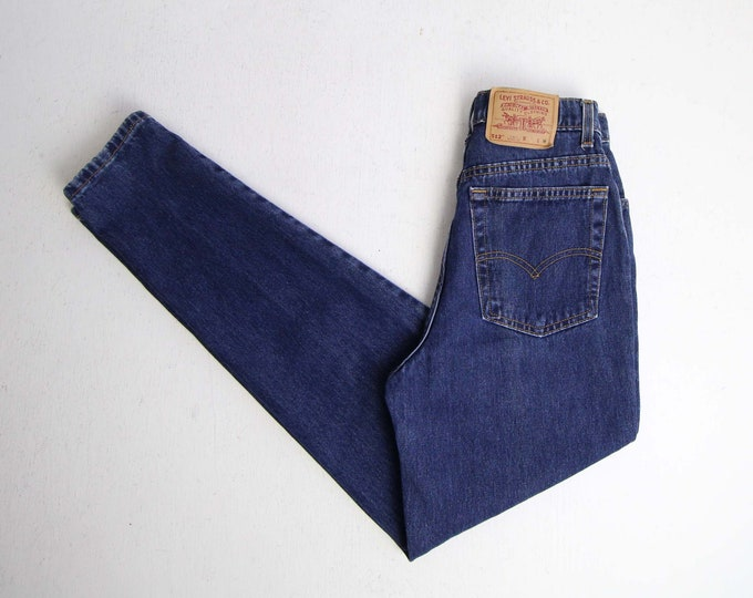 Vintage Levis 512 Jeans Womens Jeans 27 Blue Denim High Waist Tapered Leg Skinny Made in USA