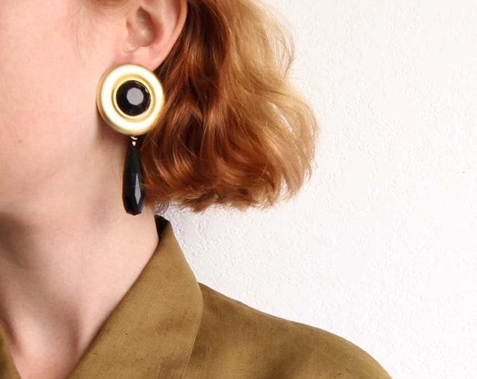 Vintage 1980s Big Earrings Long Dangle Gold Black Pierced