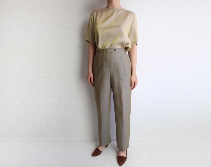 Vintage Pants Giorgio Armani 1990s Womens Trousers Window Pane Check Small