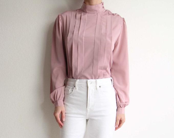 Vintage Pink Blouse 1980s Pleated Longsleeve Womens Top Medium