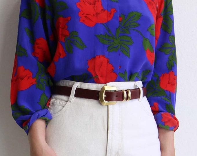 Vintage Leather Belt Womens Size 30 Medium Brick Red