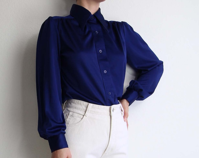 Vintage 1970s Shirt Pointed Collar Blue Blouse Womens Top Medium