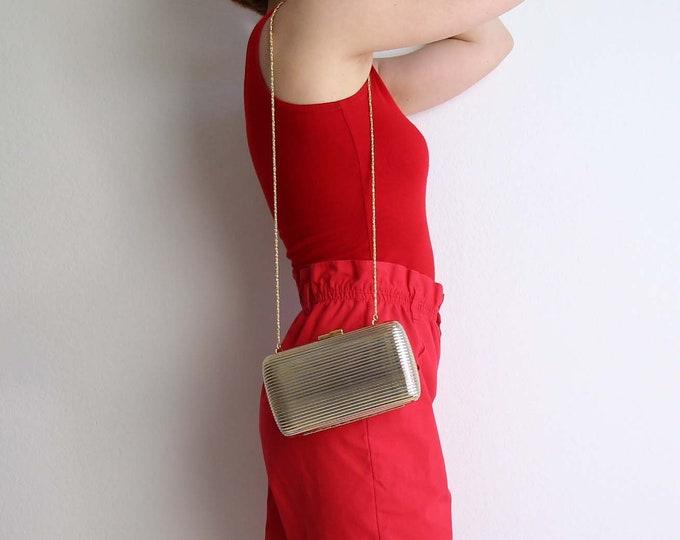 Vintage Evening Bag Gold Silver Metal Shoulder Bag Small