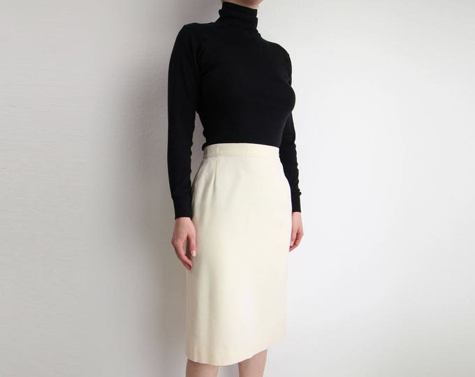 Vintage Ivory Pencil Skirt Pendleton Wool 1980s Womens Small
