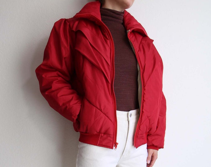Vintage 1980s Ski Jacket Womens Puffy Coat Red Medium