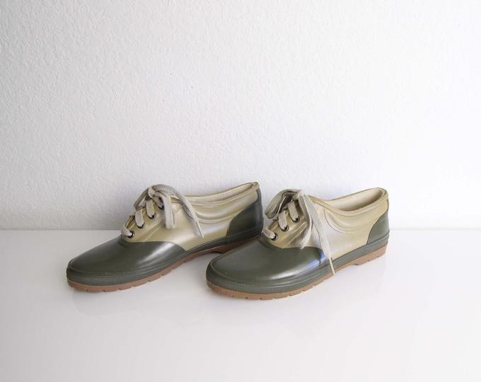 Vintage Waterproof Shoes Womens Size 7 Rubber Rain Shoes