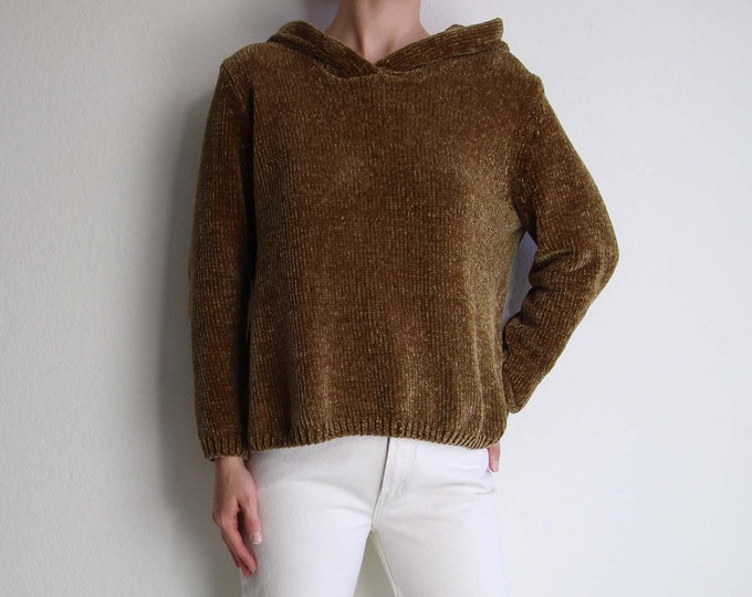 Vintage Hooded Sweater Womens Medium Soft Chenille Caramel Brown