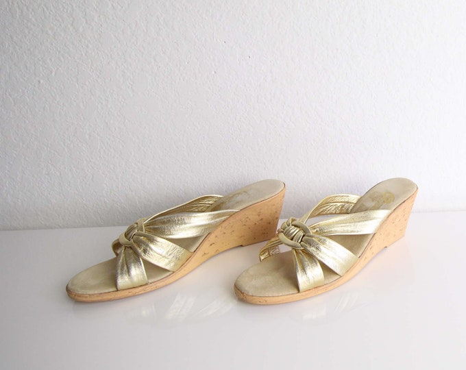 Vintage Gold Sandals Womens Shoes Size 6 Cork Wedge Heels