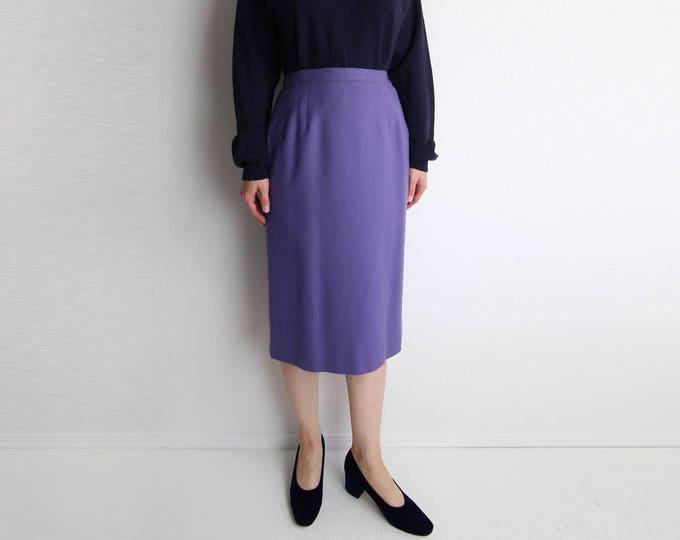 Vintage Pendleton Skirt Womens Medium 1980s Lavender Purple Wool Pencil Skirt