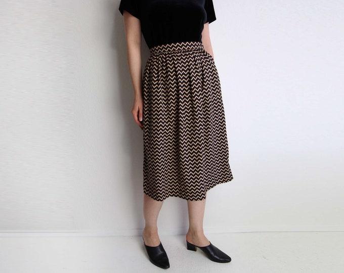 Vintage Skirt Gathered Zig Zag Black 1980s Below Knee Small