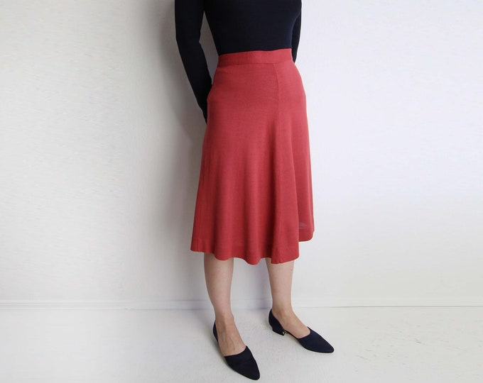Vintage Pink Skirt Womens Knit Aline 1970s Below Knee Small