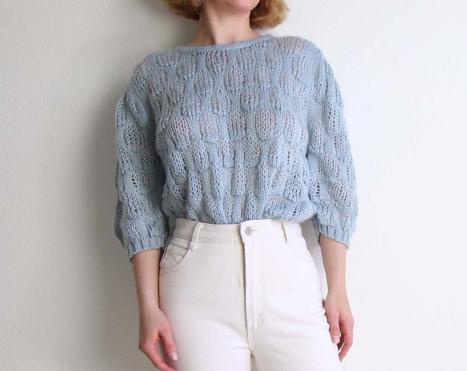 Vintage Sweater Open Knit Top 1980s Powder Blue Womens Top Medium