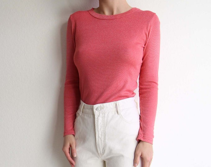 Vintage Pink Tshirt Womens Top Small Longsleeve Tee 1990s Michael Stars
