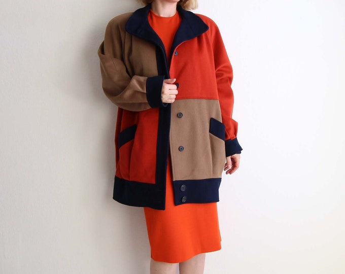 Vintage Colorblock Coat Womens Coat Large Wool Orange