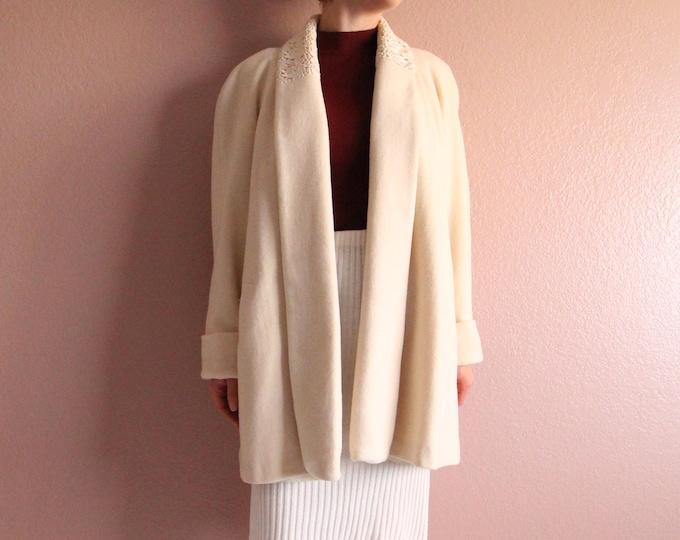 Vintage Ivory Coat Wool 1980s Womens Coat Medium Short