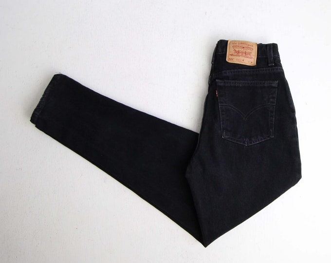 Vintage Levis 521 Womens Jeans 27 Medium Black Denim High Waist Tapered Leg Made in USA
