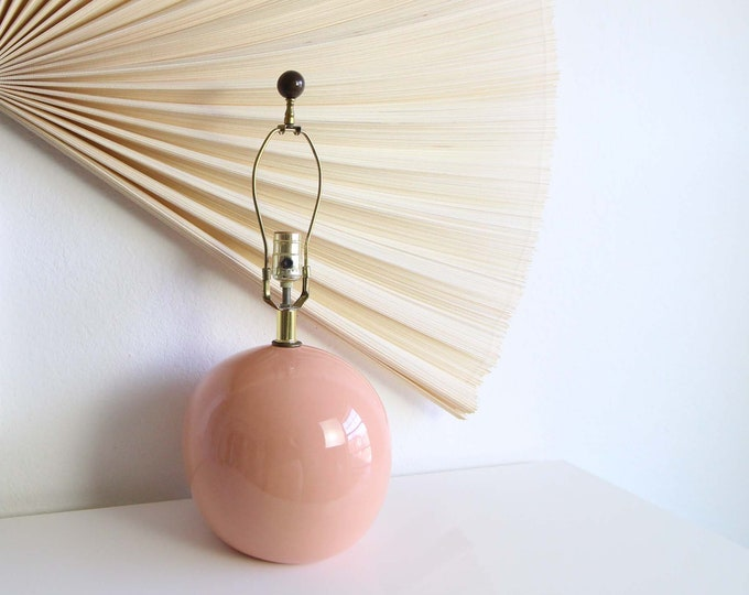 Vintage 1980s Table Lamp Peach Ceramic Round Modern Small Vintage Lighting