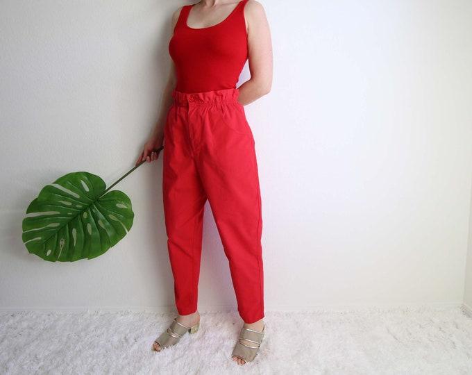 Vintage Paper Bag Pants Womens Medium Red High Waist