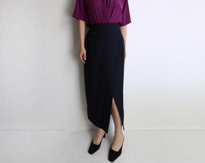 Vintage Black Skirt Wrap Skirt Long Womens Small