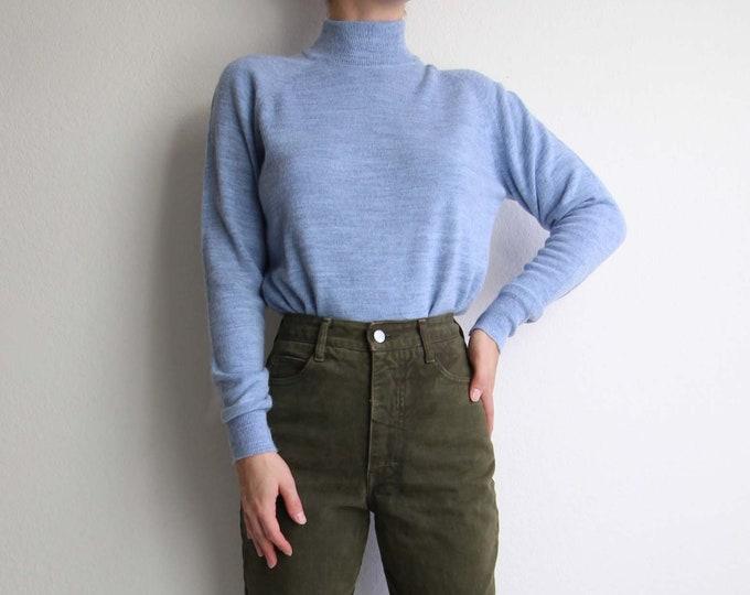Vintage Sweater Womens Blue Sweater Soft Knit Mock Neck Top Medium