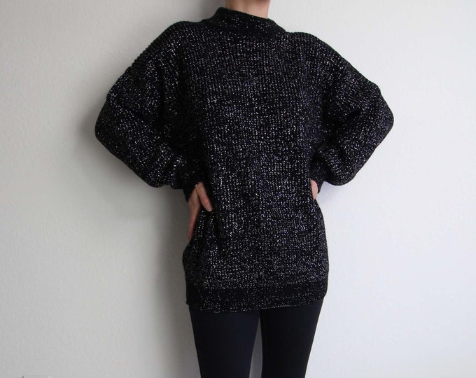 Vintage Sweater Womens 1980s Metallic Sweater Black Silver Knit Top Large