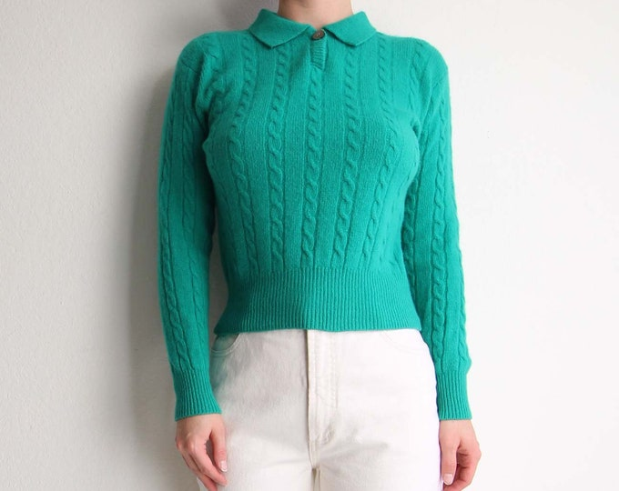 Vintage Green Sweater Womens Top Small Angora Knit Collar Cable Knit