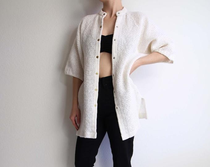 Vintage Net Top White Swimcover Beachwear Womens Top Shortsleeve Medium