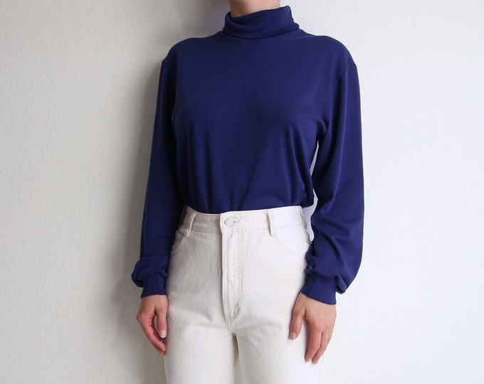 Vintage Blue Turtleneck Womens Size Large 1990s Longsleeve Shirt Womens Top