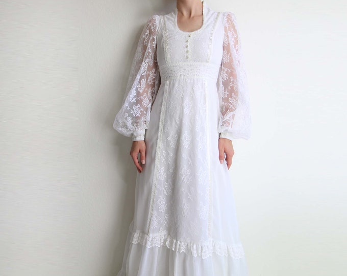 Vintage Gunne Sax Dress White Gown 1970s Maxi Dress Lace Extra Small