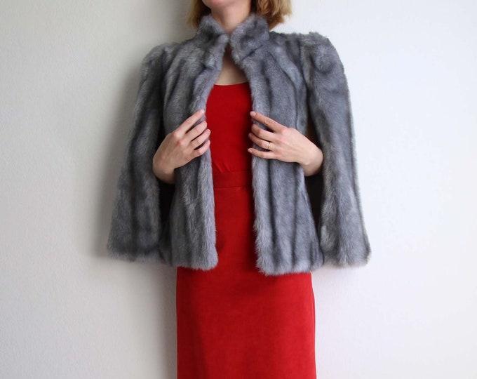 Vintage Cape Womens Faux Fur 1960s Gray Short Medium