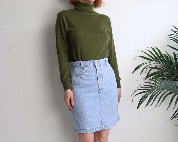 Vintage Jean Skirt 1990s Denim Pencil Skirt Light Blue Womens Medium