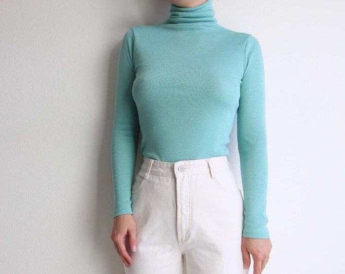 Vintage Turtleneck Mint Green Womens Top Extra Small Longsleeve Tee 1990s Michael Stars Tshirt