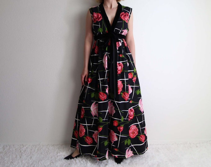 Vintage Rose Gown Formal Dress Womens Dress Small Long Sleeveless 1960s Print