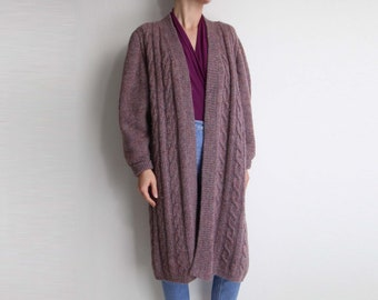 50fca82c65 Vintage Long Cardigan Womens Sweater 1980s Purple Knit Medium Large