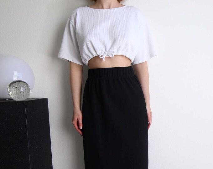 Vintage Crop Top White Cropped Tshirt Womens Top Medium