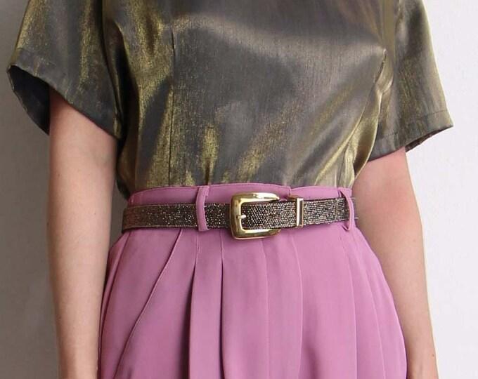 Vintage Belt 1980s Gold Black Womens Belt Size Medium 28 Waist