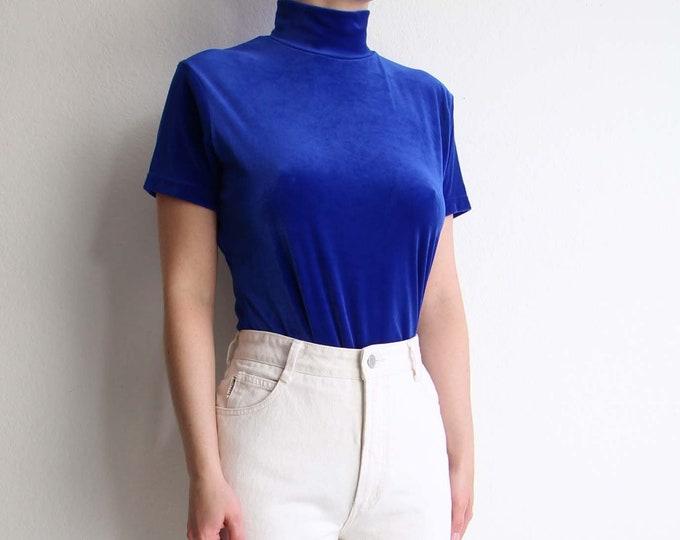 Vintage Blue Velvet Top 1990s Mock Neck Shortsleeve Womens Top Medium