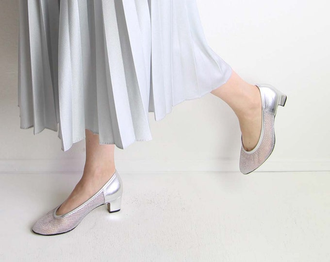 Vintage Silver Shoes Womens Heels Net Mesh Pumps Womens Size 7.5 Wide