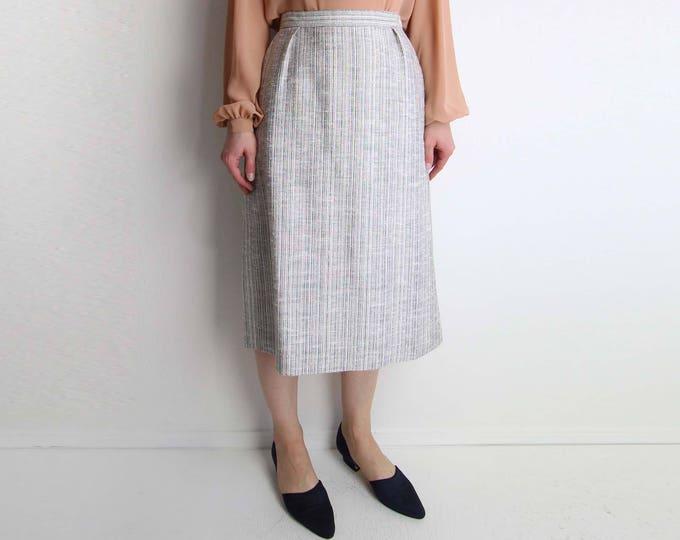 Vintage Skirt Womens Medium Black White Tweed 1980s Below Knee