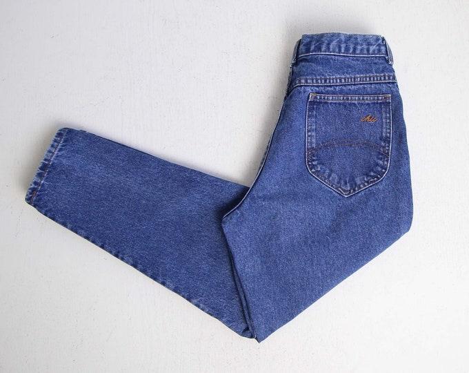 Vintage Jeans Womens 28 Denim 1980s Chic Jeans Blue High Waist Tapered Leg Made in USA Medium Short