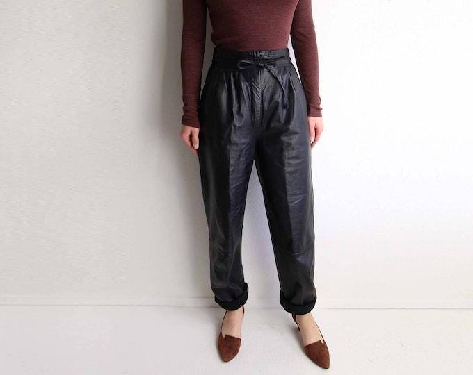 Vintage Leather Pants Womens Black Pants High Waist 1980s Paper Bag Small